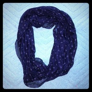 Navy Blue Anchor Infinity Scarf